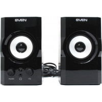 Колонки  деревянные SVEN SPS-605 (6 Вт), чёрный / SV-0120605BL /