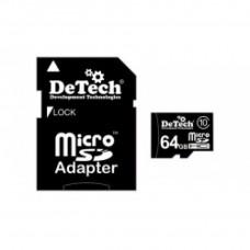 Карта памяти DeTech MicroSDHC 64GB (Class 10) + adapter